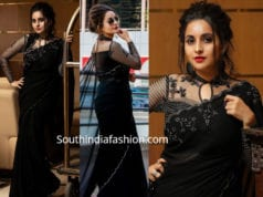 bhamaa in black saree with full sleeves blouse