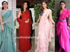 celbrities in ruffle sarees