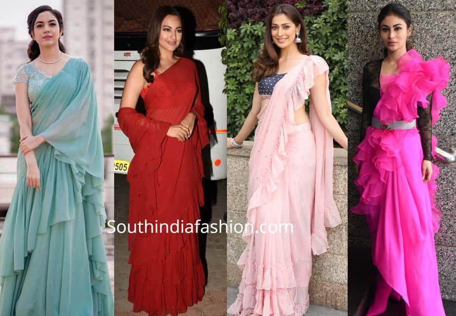 celbrities in ruffle sarees