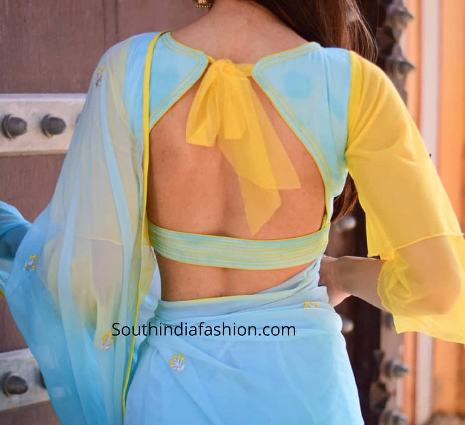 chiffon saree blouse designs 2019