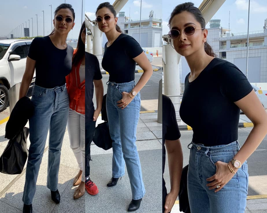 deepika padukone in jeans at airport