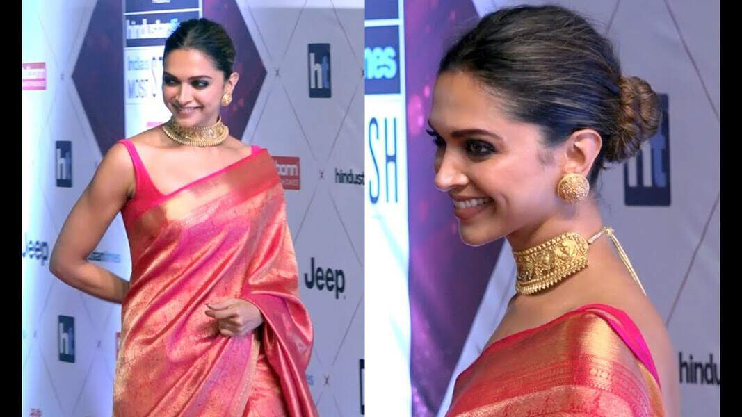 deepika silk saree hairstyle
