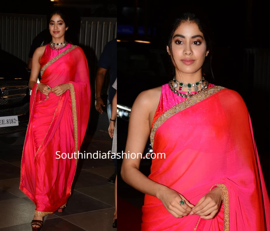 janhvi kapoor in pink saree at dadasaheb phalke awards 2019