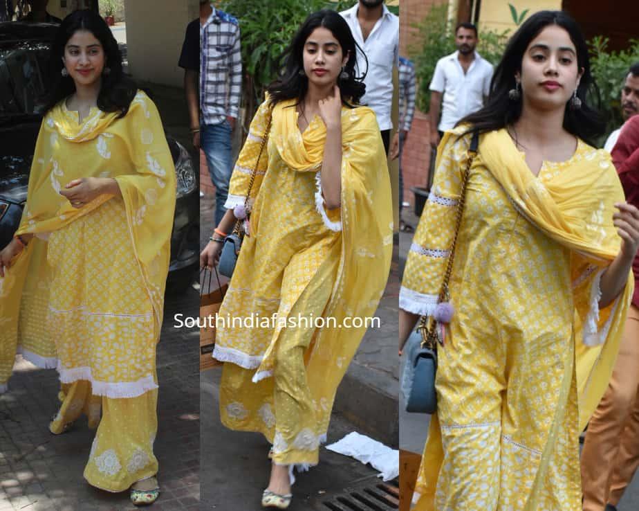 janhvi kapoor yellow casual kurta palazzo suit