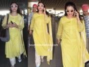 kajol yellow salwar kameez at airport