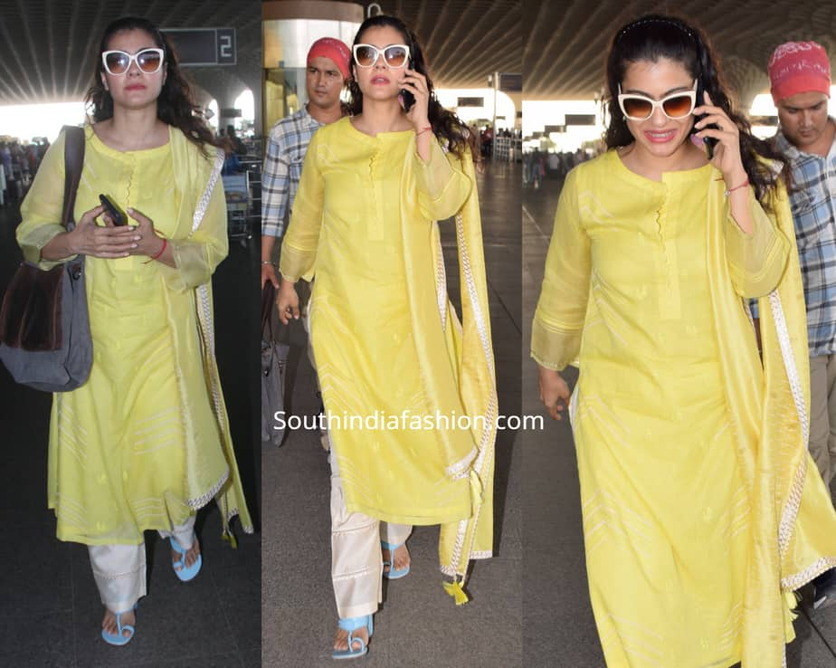 kajol yellow salwar kameez at airport