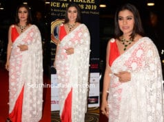 kajol white lace saree at dadasaheb phalke awards