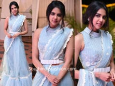 kalyani priyadarshan in blue saree at chitralahari pre release event