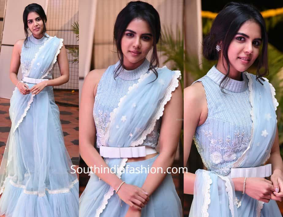 kalyani priyadarshan in blue saree at chitralahari pre release event
