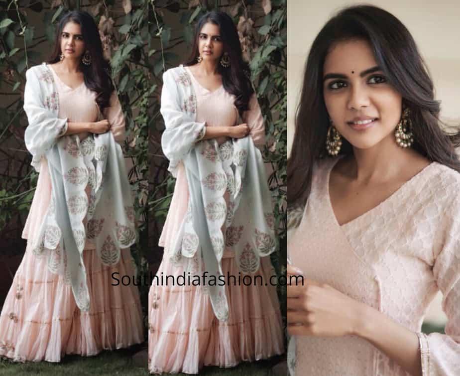 kalyani priyadarshan in a pink sharara suit