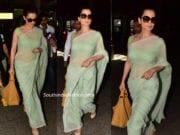 kangana ranaut airport green saree