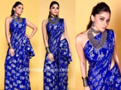 kanika kapooor blue saree on the voice sets