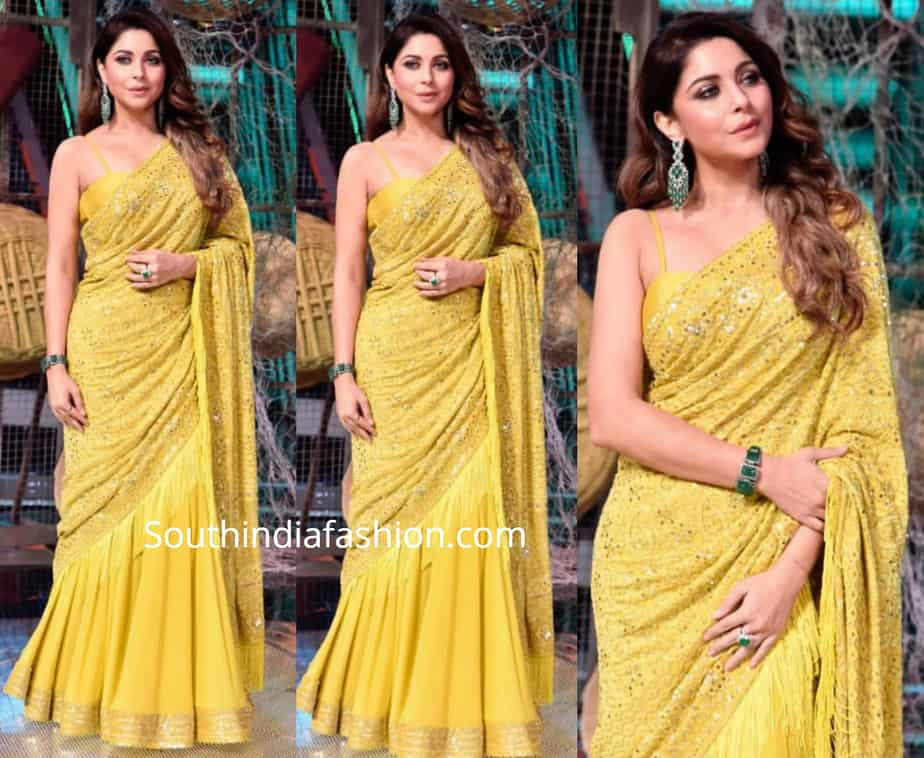 kanika kapoor in yellow choikankari lehenga the voice