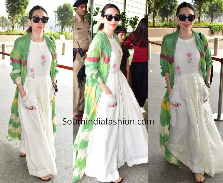 karisma kapoor white maxi dress with green jacket