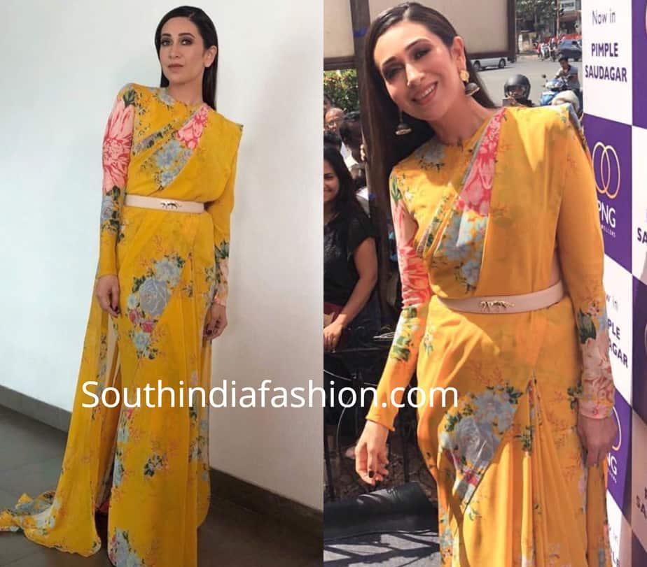 long sleeves blouse design for printed chiffon sarees