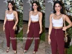 khushi kapoor at manish malhotra party red pants white crop top