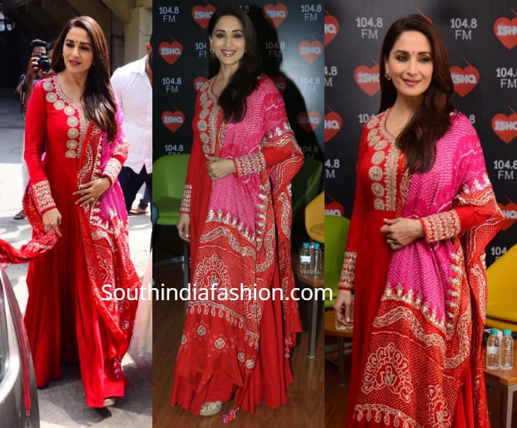 madhuri dixit in red anarkali at kalank promotions