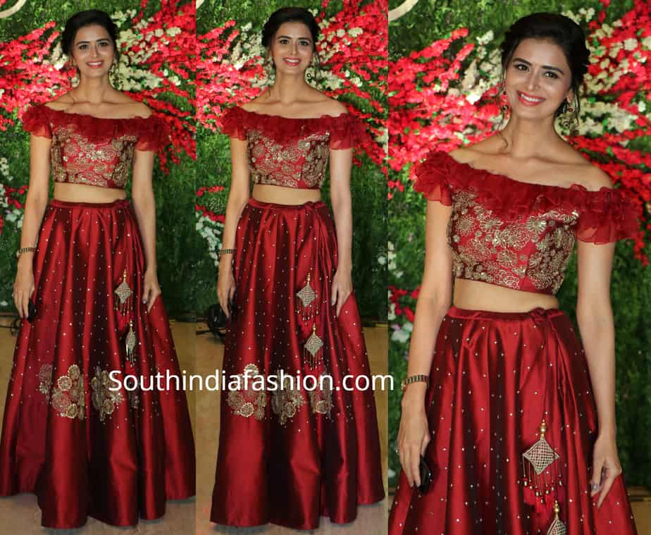 meenakshi dixit maroon long skirt crop top