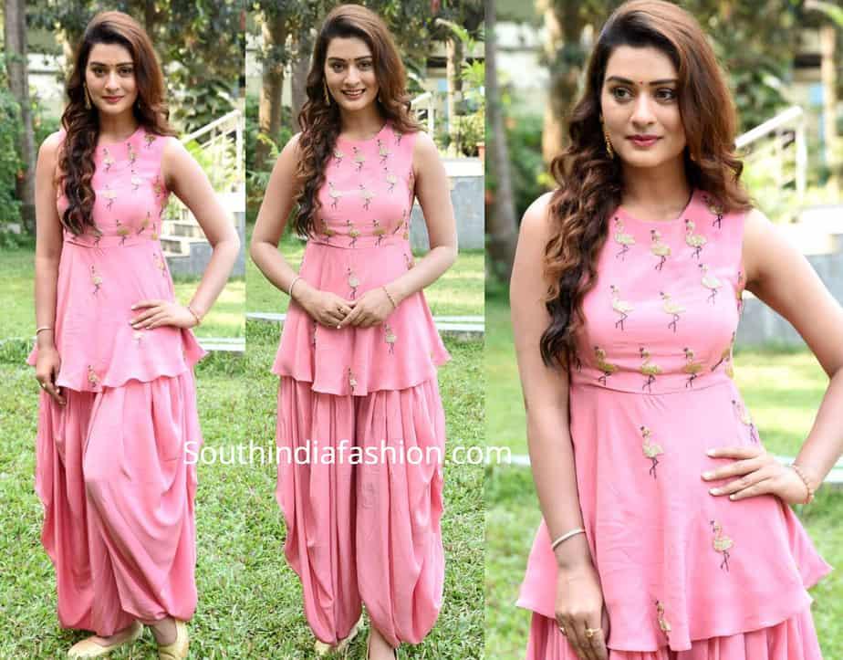 payal rajput pink patiala suit