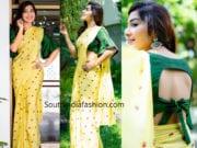 ramya subramanian yellow saree green blouse