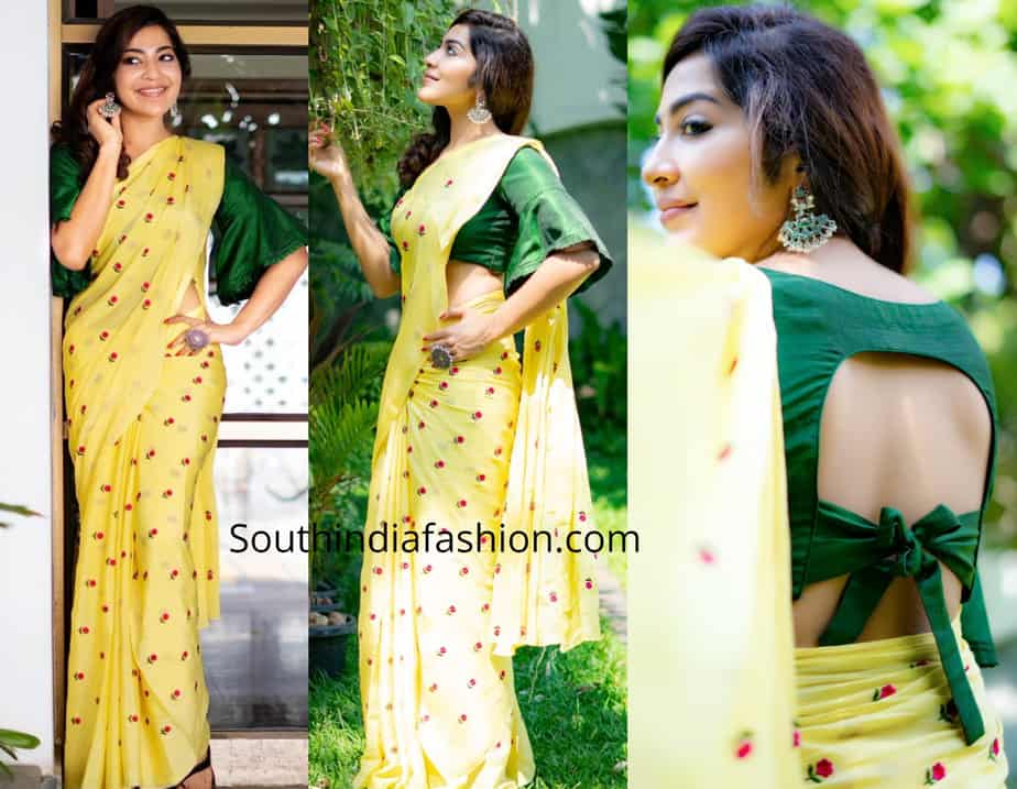 ramya subramanian yellow saree green blouse