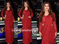raveena tandon in red ruffle saree on super dancer