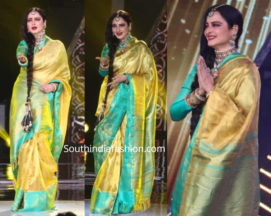 rekha in gold tissue kanchipuram saree rising stars