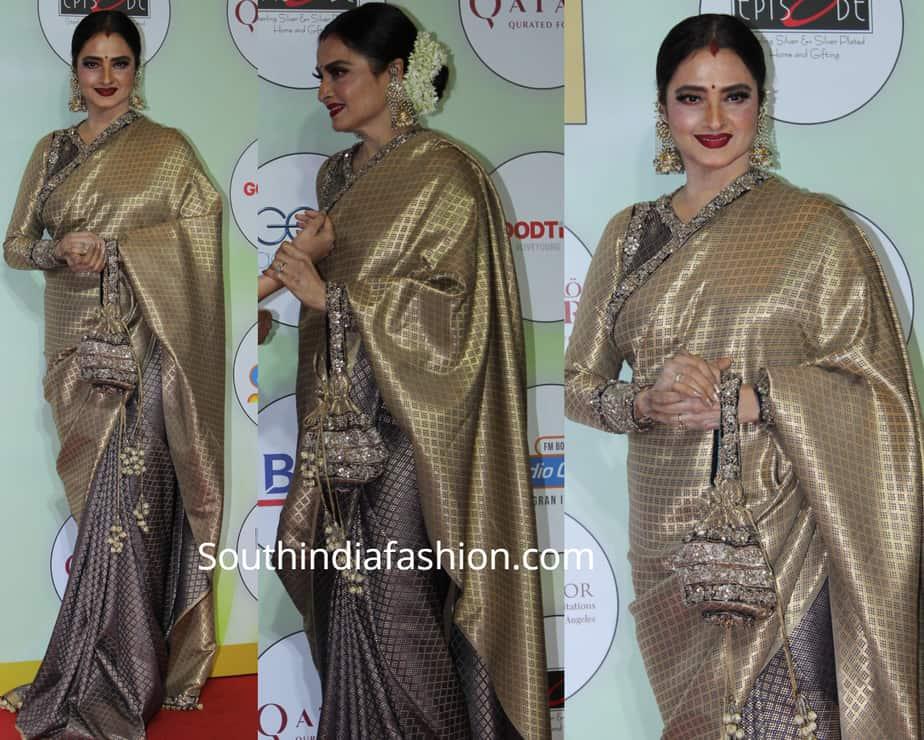 rekha in kanjeevaram saree at globalspa awards