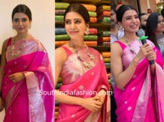 samantha akkineni in a pink parru saree at kisan shopping mall launch kamareddy