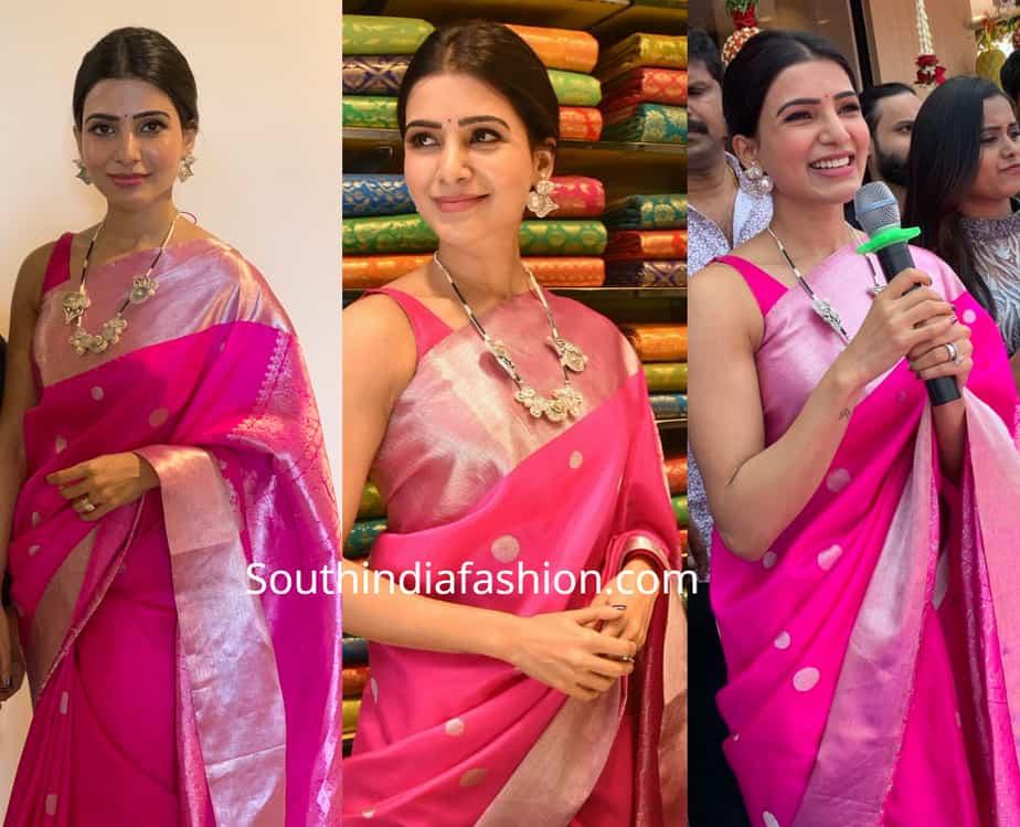 samantha akkineni in a pink parru saree at kisan shopping mall launch kamareddy