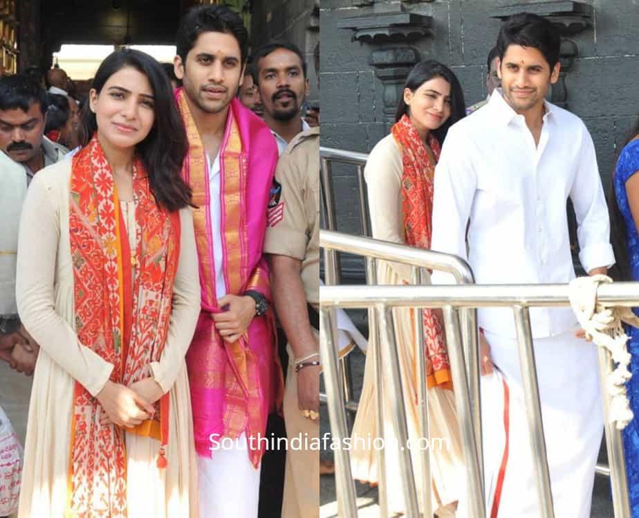 samantha and naga chaitanya at tirumala