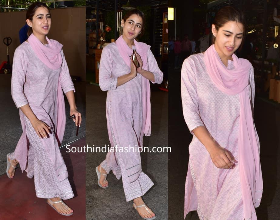 sara ali khan in pink palazzo suit