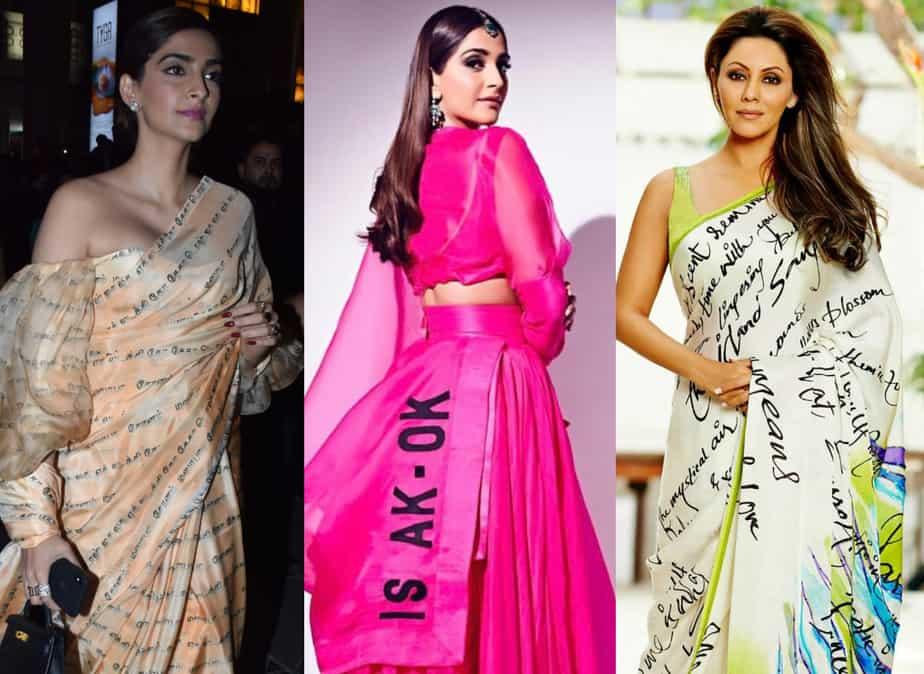 sarees with script