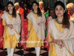shamita shetty in yellow salwar kameez at ram navami celebrations