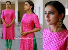 shraddha srinath in pink kurta green cigarette pants