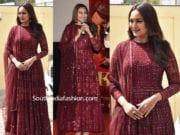 sonakshi sinha in maroon anarkali at kalank trailer launch