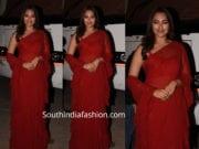 sonakshi sinha red saree kalank promotions