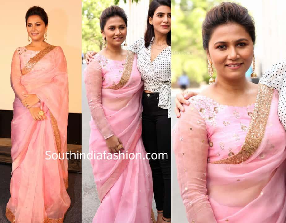 thabitha sukumar in pink organza saree