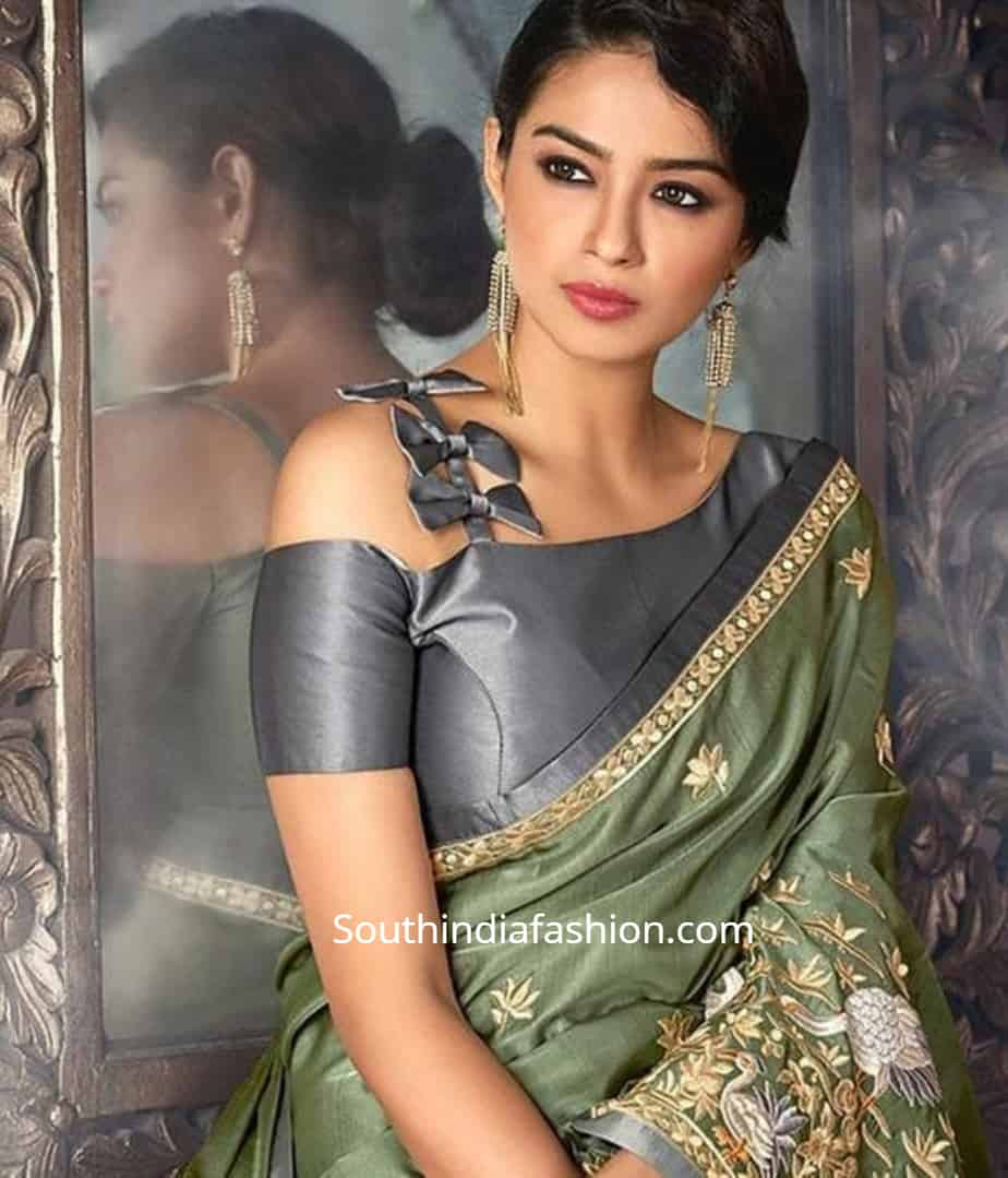 trendy blouse design for chiffon sarees