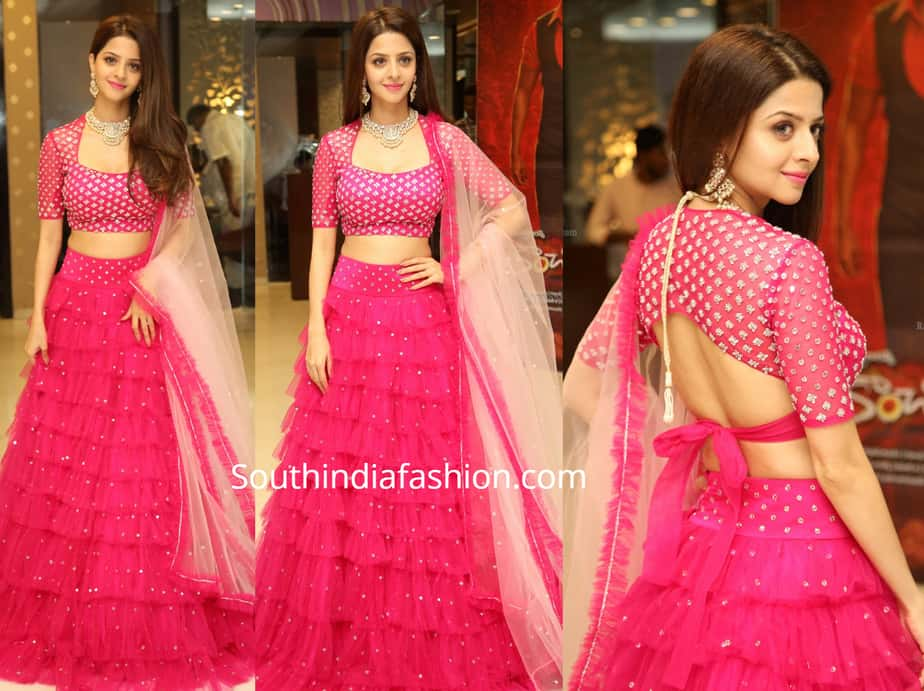 vedhika in pink lehenga at kanchana 3 success meet
