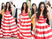 AISHWARYA RAI RED AND WHITE STRIPED MAXI DRESS CANNES 2019
