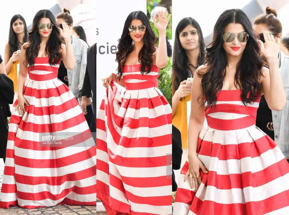 AISHWARYA RAI RED AND WHITE STRIPED MAXI DRESS CANNES 2019