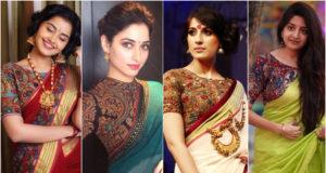 Style Kalamkari Blouse with Different Sarees