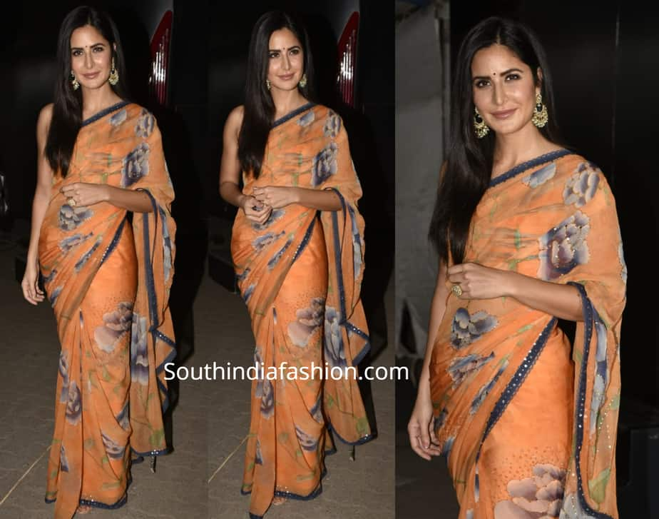 KATRINA KAIF ORANGE FLORAL SAREE BHARATH PROMOTIONS