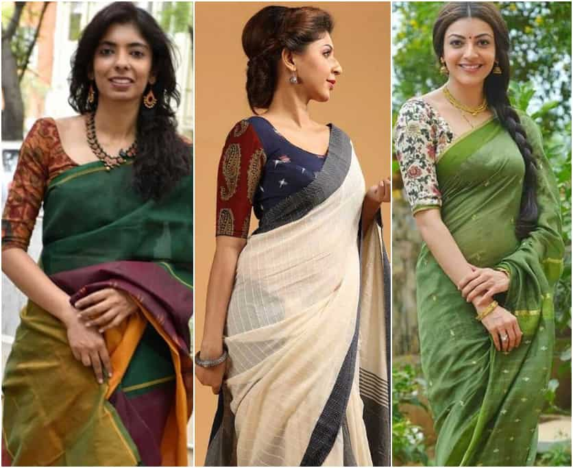 Style Kalamkari Blouse with Different Sarees