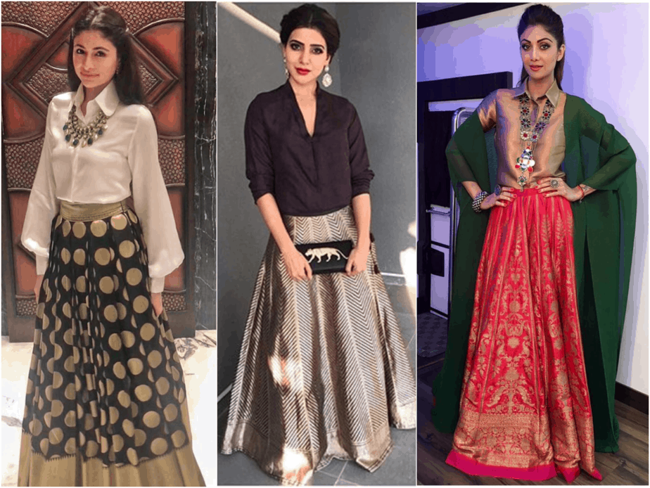 Traditional Skirts with Edgy Tops