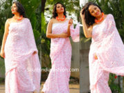 anchor anasuya white printed saree