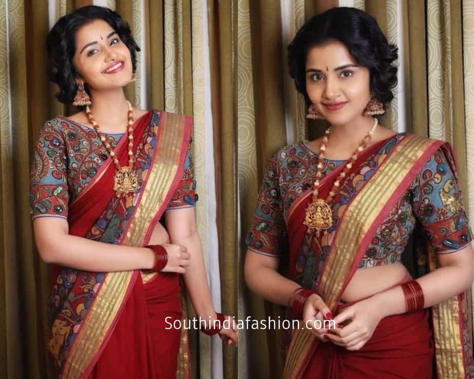 anupama parameshwar in kalamkari saree