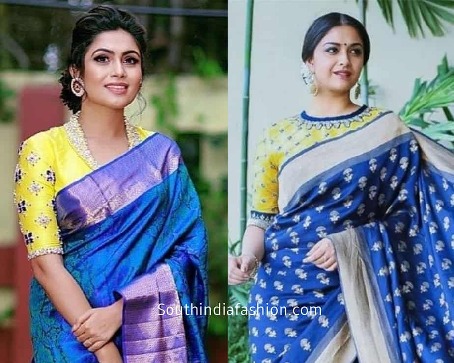 blue saree with contrast blouses