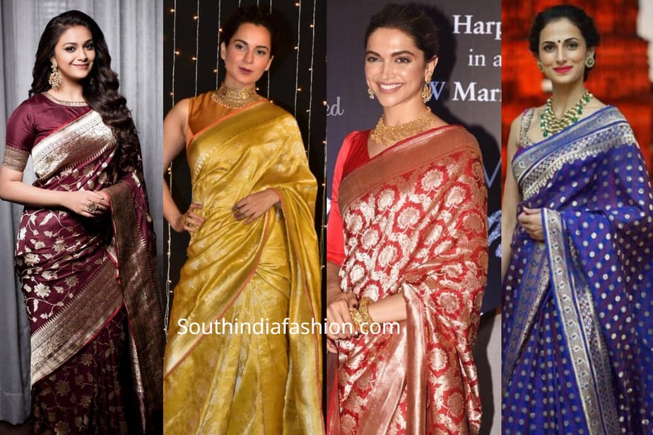 celebrities in banarasi silk sarees